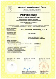 Certificate of Security Clearance (expiration date 08/2020)
