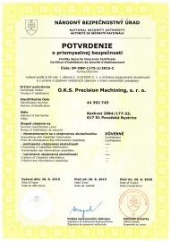 Potvrdenie o priemyselnej bezpečnosti (platnosť do 08/2020)