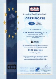 Certificate - Quality Management System ISO 9001:2015 (in 12/2017 with validity till 12/2020) EN