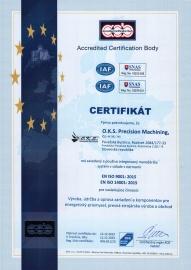 Certifikát - Systém manažérstva kvality ISO 9001:2015, 14001:2015 (udelený v 12/2020 s platnosťou do  12/2023) SK