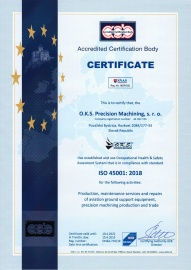 Certificate - Occupational Health & Safety Assesment System ISO 45001:2018 (in 04/2019 with validity till 04/2022) EN