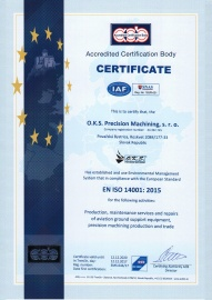 Certificate - Enviromental Management System ISO 14001:2015 (in 12/2017 with validity till 12/2020) EN