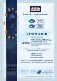 Certifikát - Systém manažérstva kvality ISO 9001:2015, 14001:2015 (udelený v 12/2020 s platnosťou do  12/2023) EN