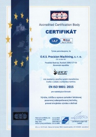 Certificate - Quality Management System ISO 9001:2015 (in 12/2017 with validity till 12/2020) SK