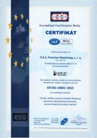 Certificate - Enviromental Management System ISO 14001:2015 (in 12/2017 with validity till 12/2020) SK